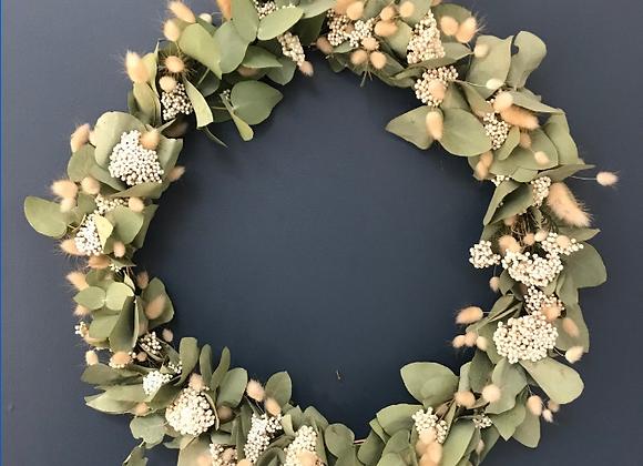 Grosse couronne de fleurs séchées 40cm