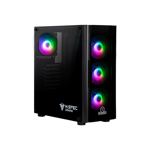 Rotanium (Temper-TG303 RGB) Black (4x RGB fan) Tempered Glass ATX Gaming Case wi