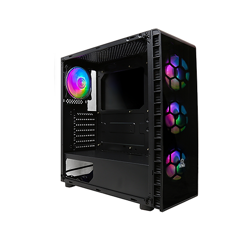 Rotanium (Temper-TG302 RGB) Black (4x RGB fan) Tempered Glass ATX Gaming Case wi