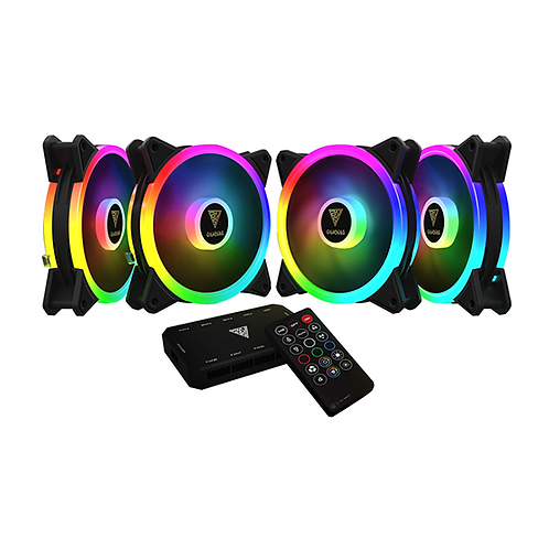 Gamdias AEOLUS (M2-1204R) 4-Pack 120mm  Addressable-RGB Case Fan with Remote Con