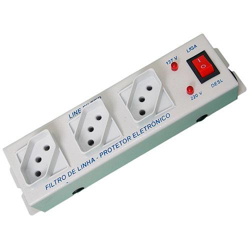 Filtro de Linha Metal com 02 LED's - 3 Tomadas Cabo 1,0m