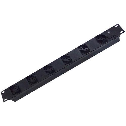 """Régua Rack 19"""" - 6 tomadas 10A com Porta-Fusíveis e LED cabo 1,5m"""