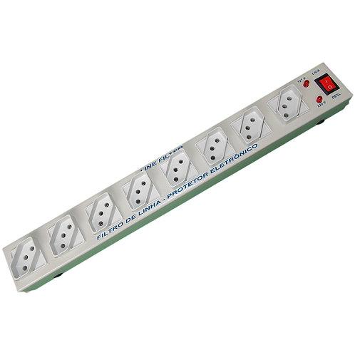 Filtro de Linha Metal com 02 LED's - 8 Tomadas Cabo 1,0m