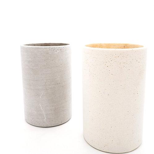 Cylinder Vase (Flat White & Grey)