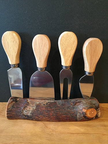 Cheese Knife Set in Log Holder