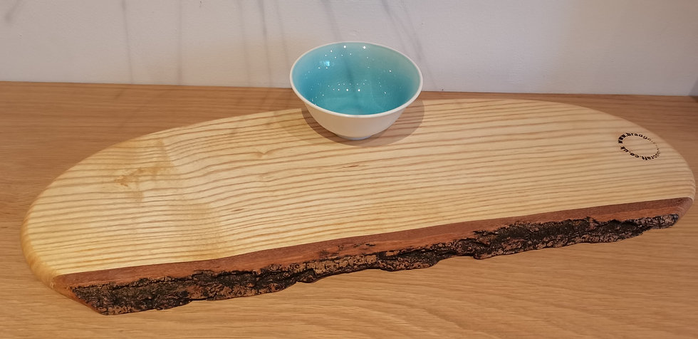 Natural edge Ash serving Board with bowl