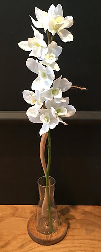 Oak and glass vase flower holder (small)