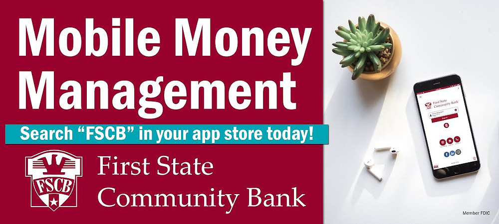 Advertisement for First State Community Bank mobile money management