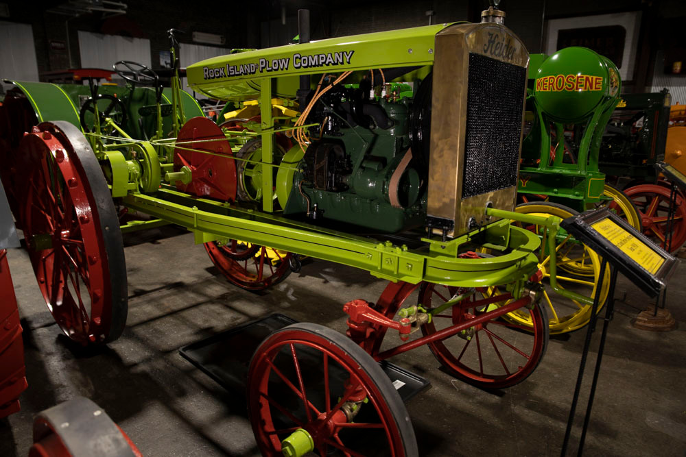 An antique Rock Island Plow Company Tractor sets in the American Tractor Museum so beautifully restored it looks brand new.