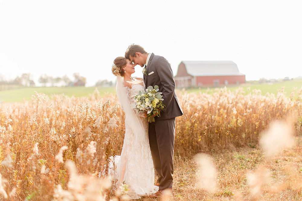 bride and groom in a wheat field at The Barn at Lone Eagle Landing wedding venue