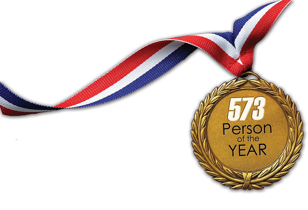 """Gold medal with red white and blue ribbon for the neck for """"573 Person of the Year"""""""