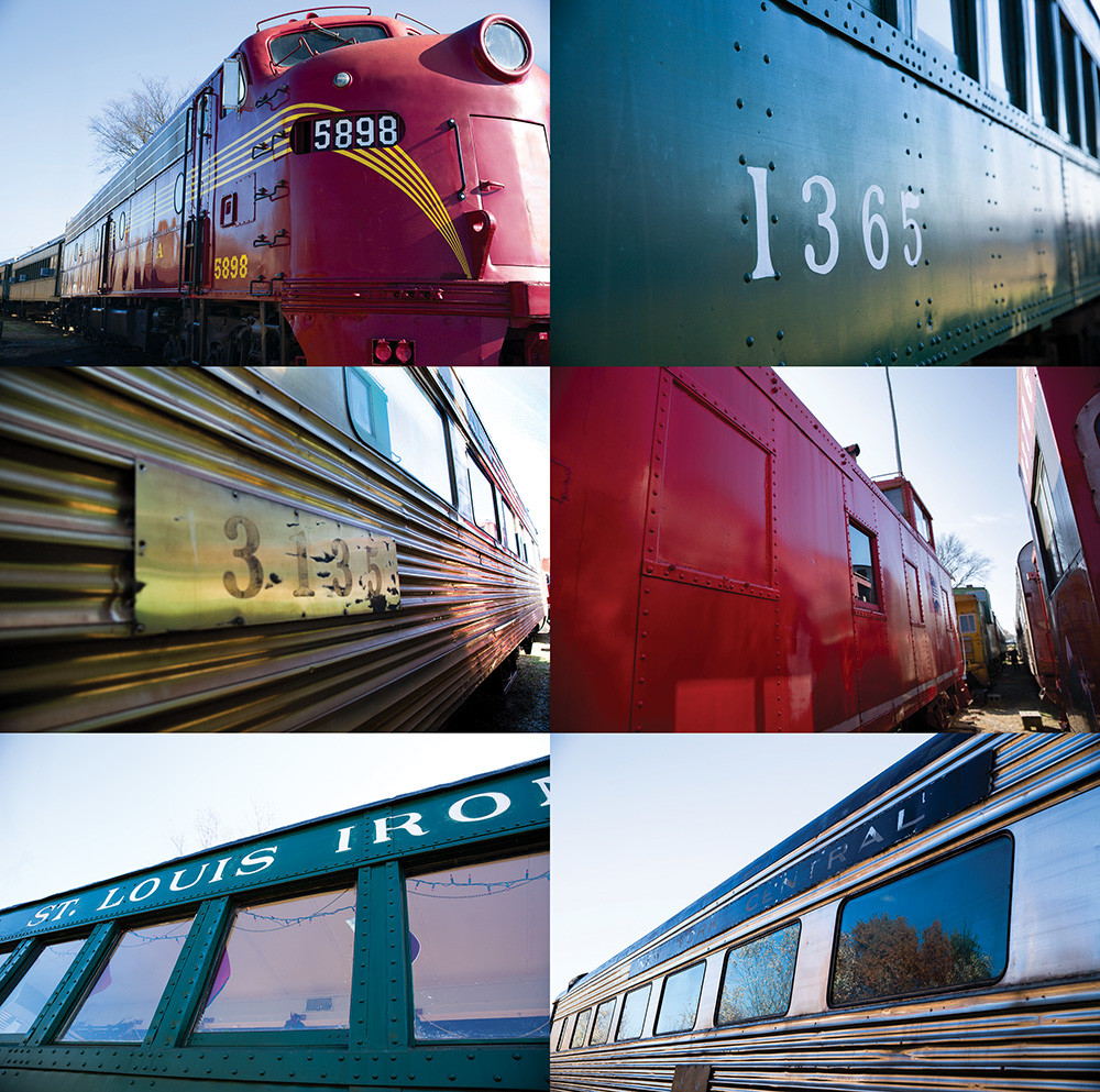 """collage of train cars of various shapes sizes and colors words, """"St. Louis Iron..."""" visible"""