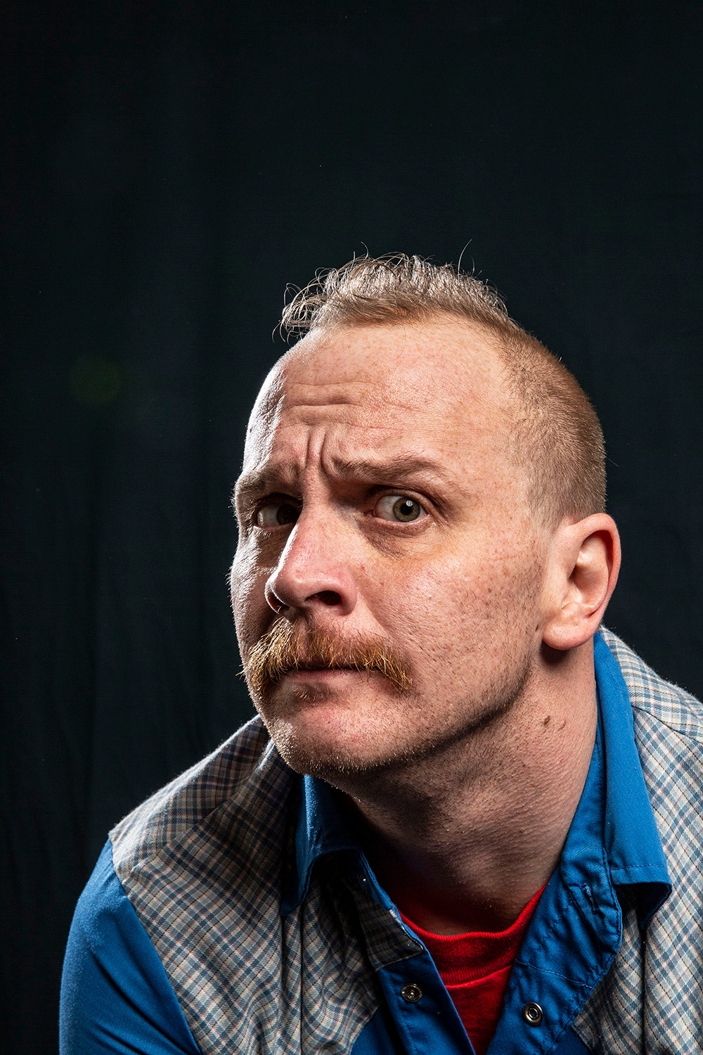comedian Nate Barron tries his best to look serious