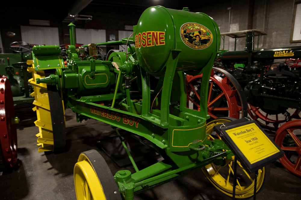 An antique Waterloo Boy tractor with a large tank for kerosene at the American Tractor Museum in Perryville MO
