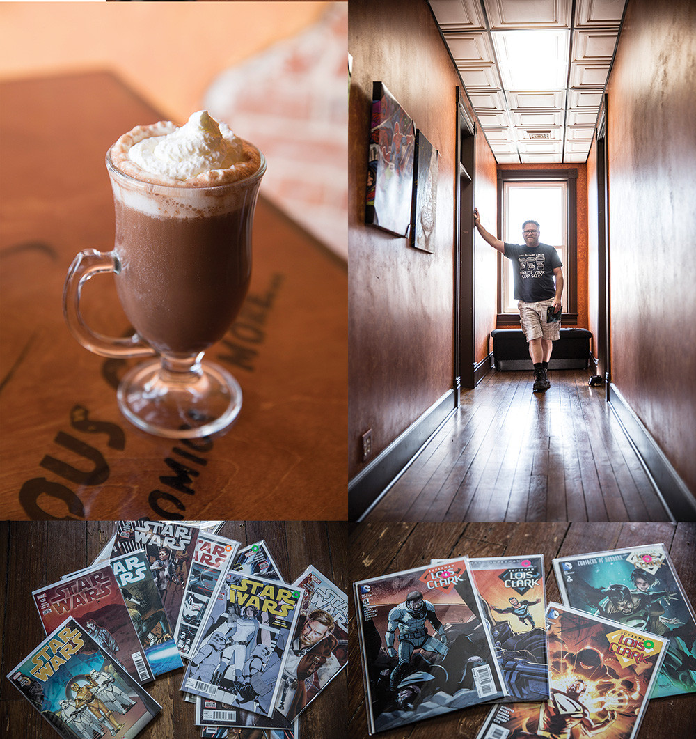 collage of 3 pics a cappuccino a long hall with a man leaning against the wall an array of comic books on a wood floor