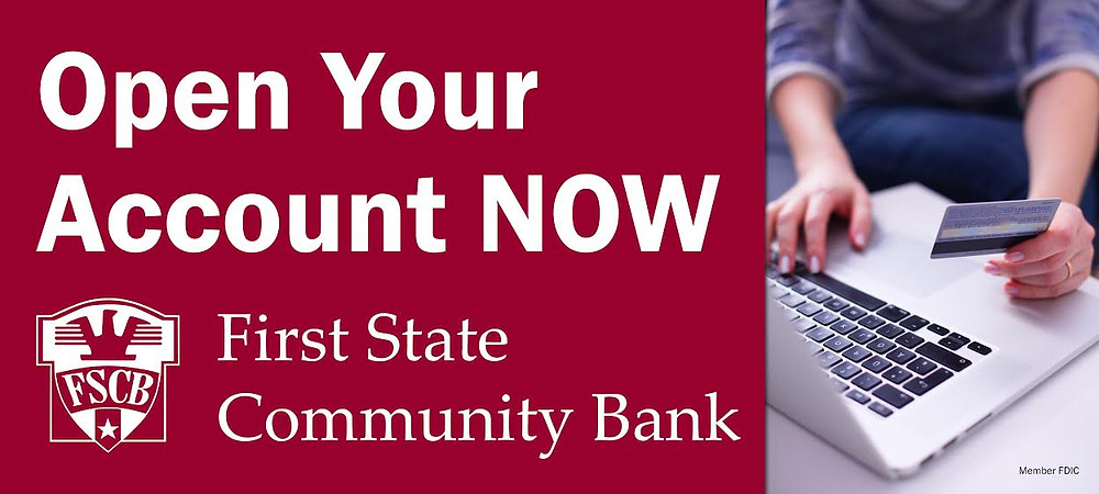 Advertisement for First State Community Bank click to open a new account