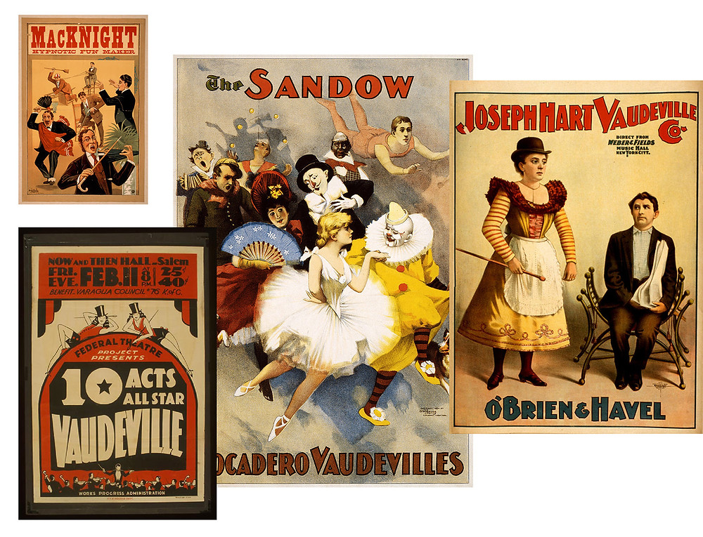 an array of posters featuring vaudeville acts and talent including clowns, dancers, musicians, and jugglers
