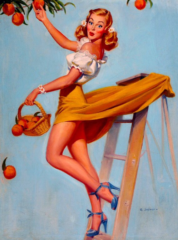 classic pin up painting surprised blonde picks peaches as skirt catches on ladder