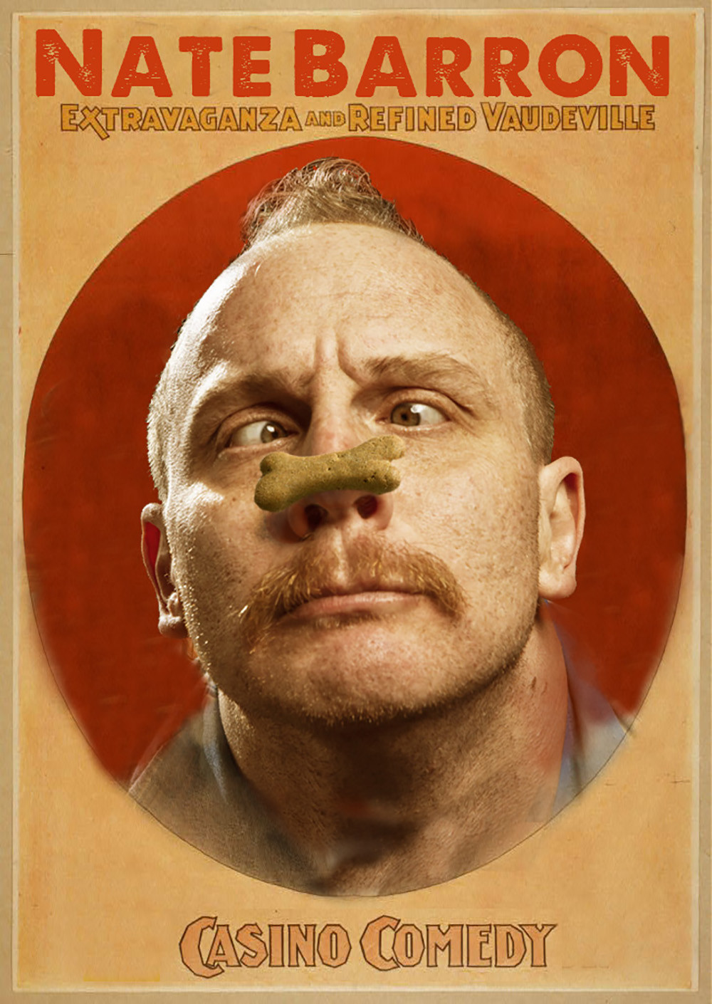 comedian Nate Barron balances a dog biscuit on the tip of his nose