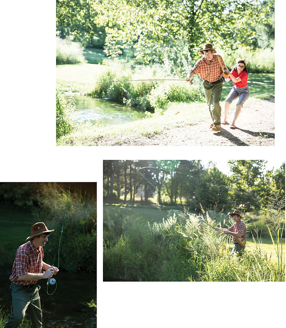 fly fisherman in hat dragging protesting wife up gravel road