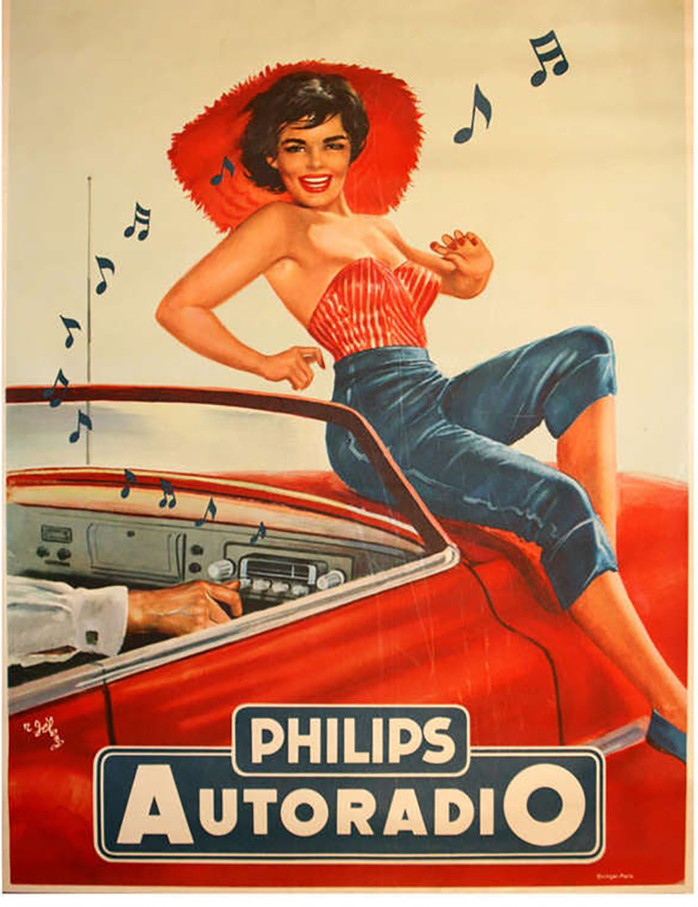 classic pinup poster brunette in tube top and big red hat listens to music on red convertible hood