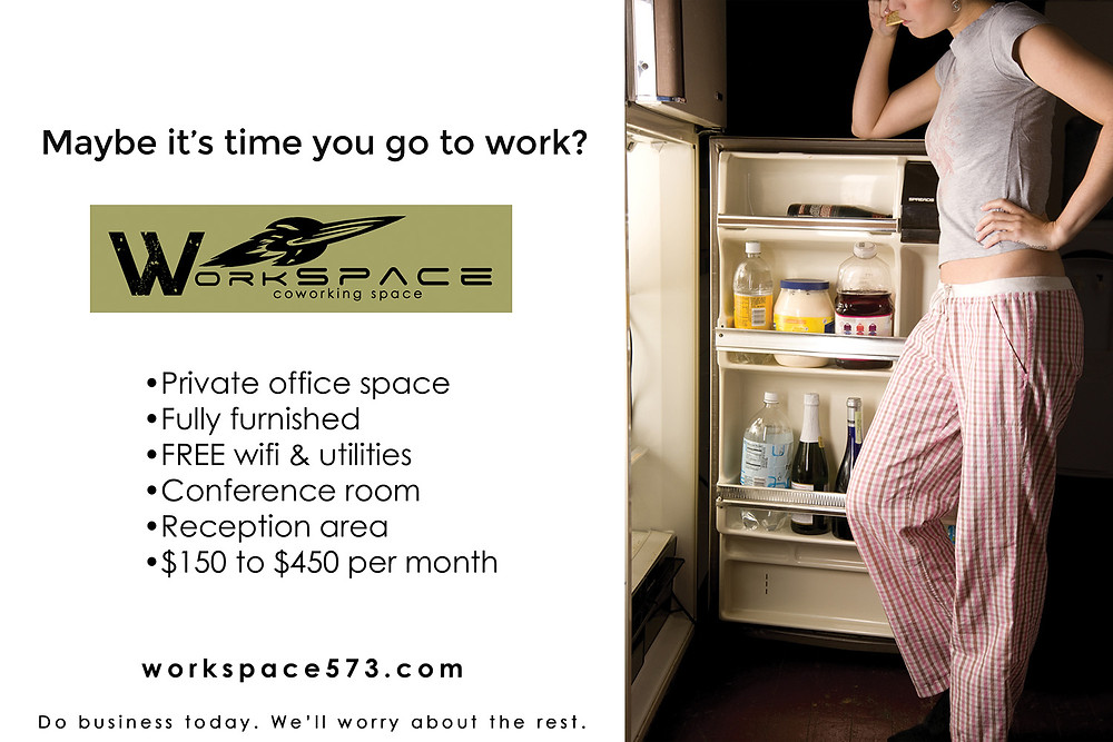 Advertisement for WorkSPACE co-working office space in Farmington