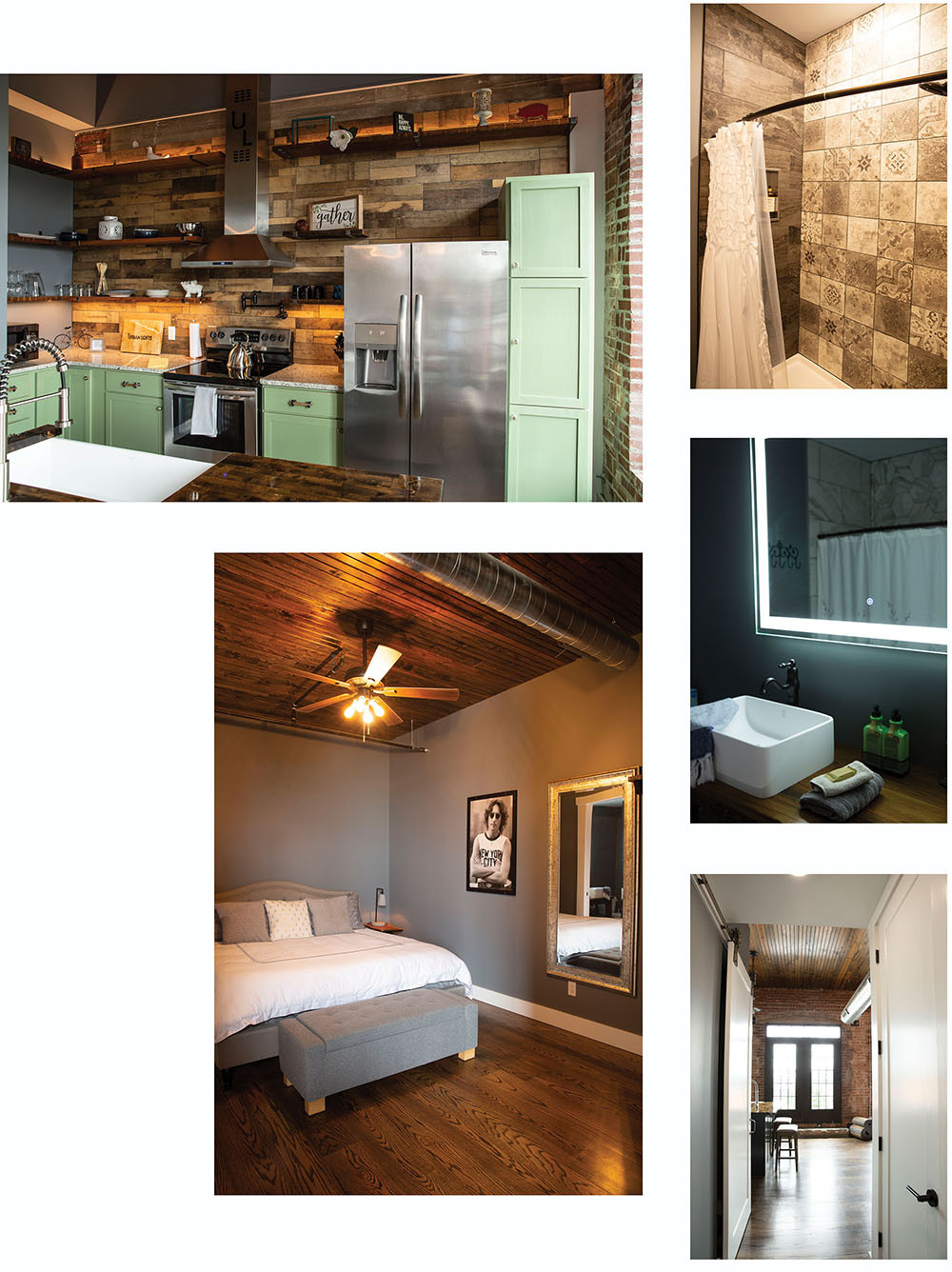 collage of urban loft suites full service kitchen comfy bedroom and bathroom with hip decor and led mirrors