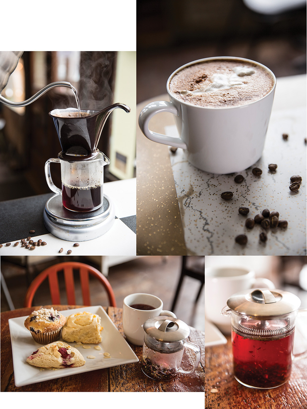 Collage of pictures of jelly filled pastries mugs of cappuccino a pitcher of syrup and hot water being poured over coffee beans