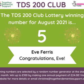 And the 200 Club Lottery Winner for August is... Eve Ferris!