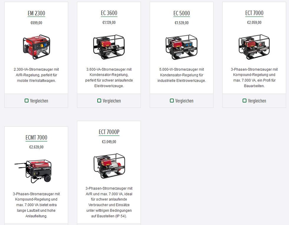 Honda Stromerzeuger Rahmengeräte