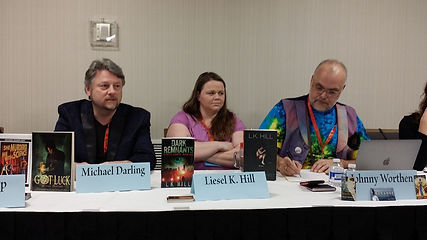Authors L.K. Hill, Michael Darling,and Johnny Worthen at LTUE.