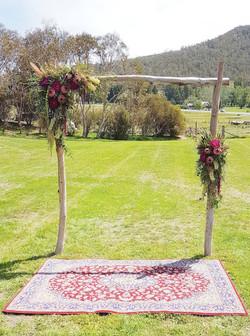 Snowgum arbor & Persian rug