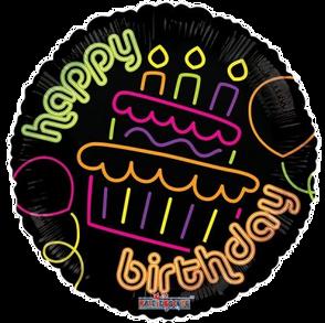 Happy Birthday neon cupcake
