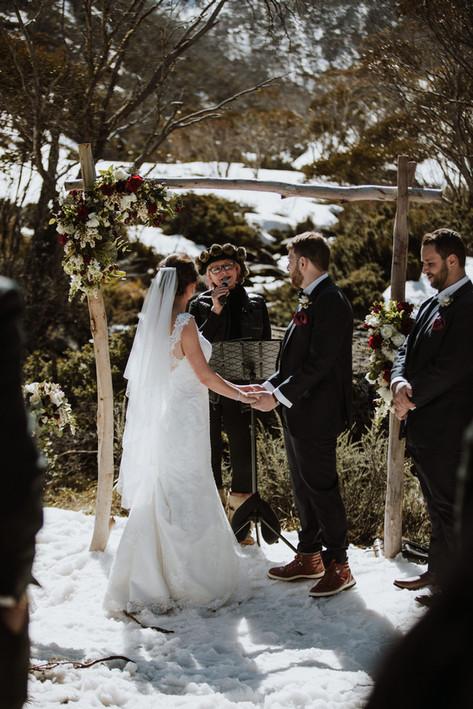 Snow wedding ceremony