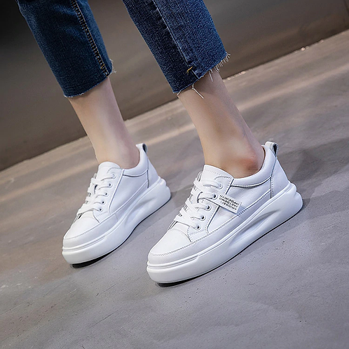Genuine Leather Casual Shoes Women Sneakers Autumn