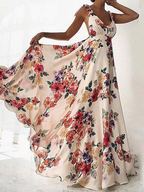 Women's White Dress Sundress Floral S M