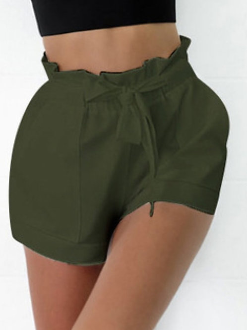 Women's Basic Shorts Pants - Solid Colored Green White Black S M L