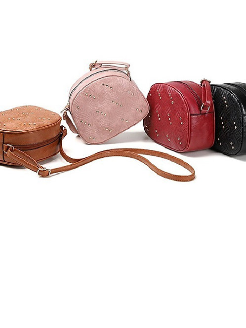 Women's Rivet PU Crossbody Bag 2020 Solid Color Blushing Pink / Red / Brown