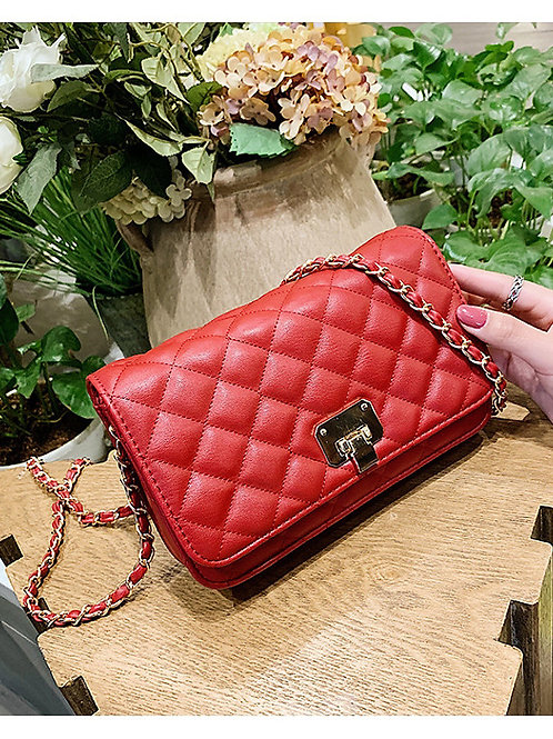 Women's Chain PU Crossbody Bag Solid Color Black / White / Red / Fall & Winter