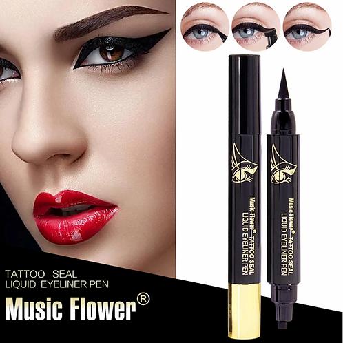 2in1 Music Flower Liquid Eyeliner Stamp Eye Liner Pencil Long Lasting Makeup