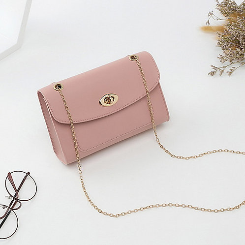 omen's Chain PU Crossbody Bag Solid Color Black / Wine / Blushing Pink
