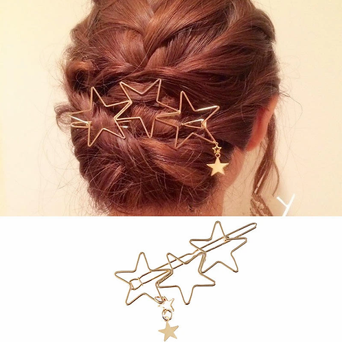 Trendy Hair Accessories Hollow Five Point Stars Alloy Hairpin Hair Clip Star Pen