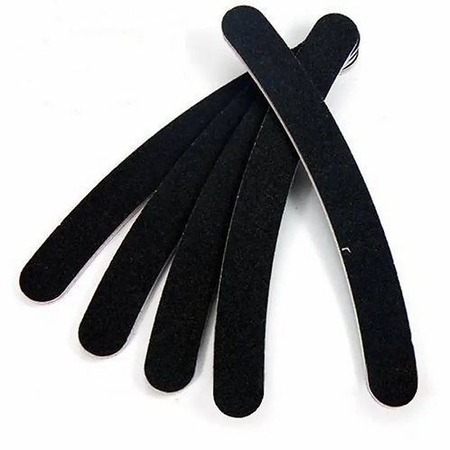 Black Nail Art Buffer Files Crescent Sandpaper Grit