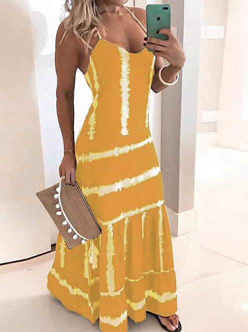 Women's 2020 Maxi Yellow Red Dress Spring & Summer Holiday Vacation Beach A Line