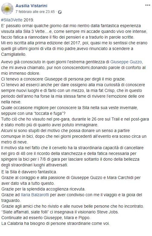 Ausilia Vistarini parla di Sila3Vette
