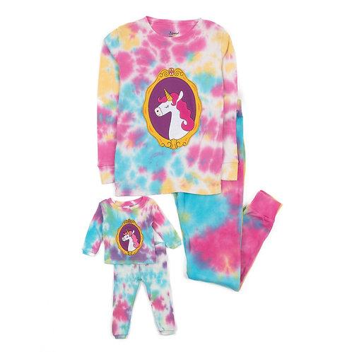 Girl and Doll Matching Rainbow Unicorn Mix Tie Dye Pajamas