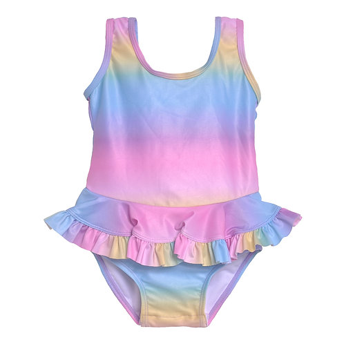 UPF 50+ Stella Infant Ruffle Swimsuit | Rainbow Sherbet Ombre