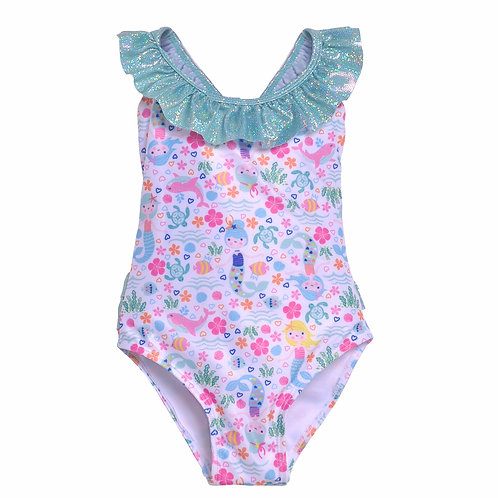 UPF 50+ Mindy Crossback Swimsuit   Mermaid Lagoon