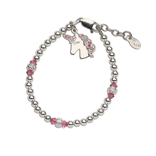 Unicorn (Pink) ~ Sterling Silver Unicorn Bracelet