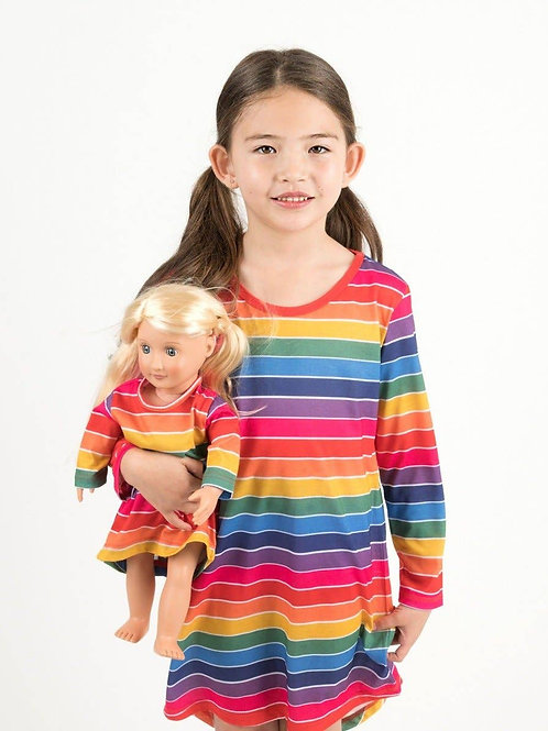 Matching Girl and Doll Rainbow Stripes Nightgown - Rainbow Stripes